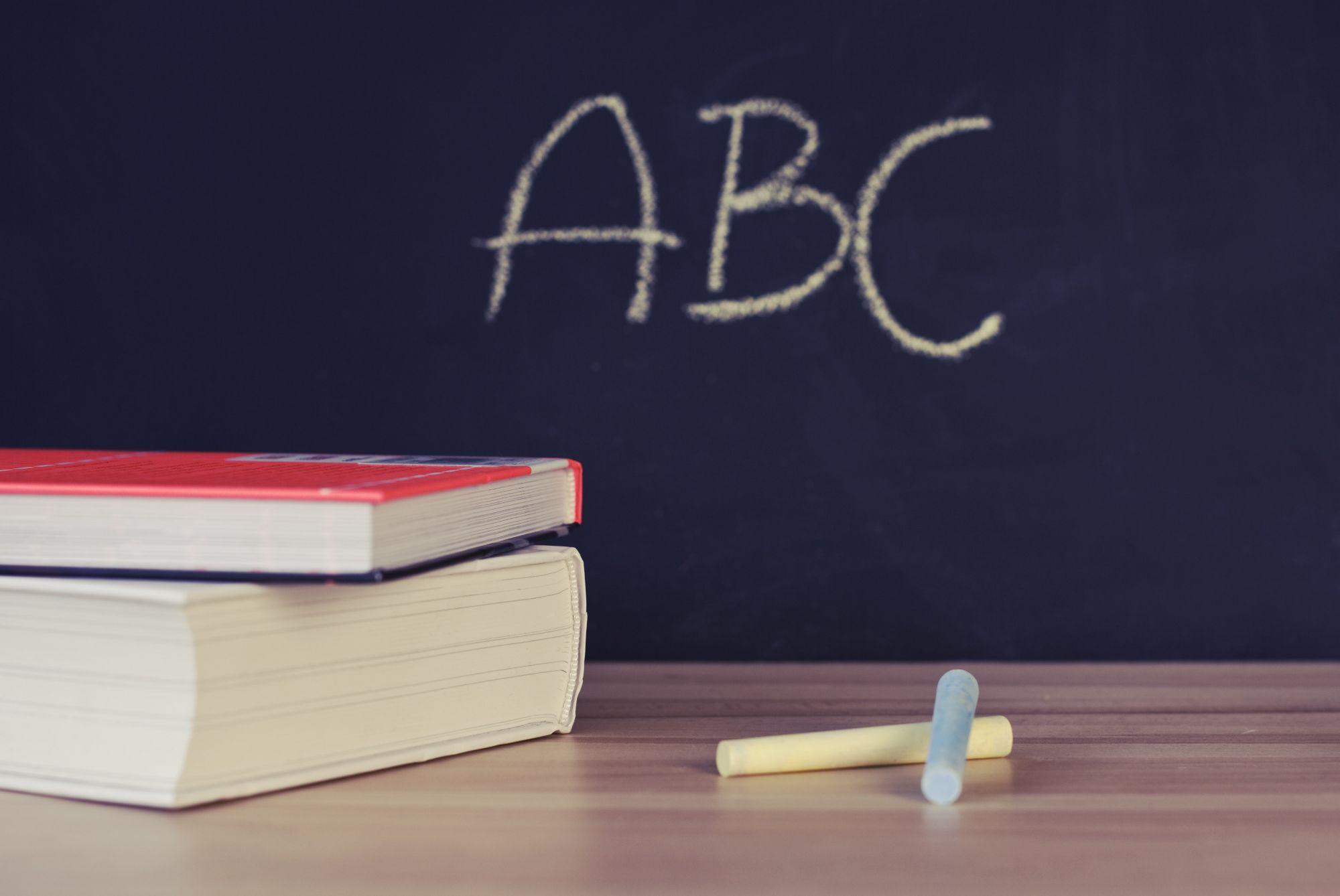 Image of ABC on a blackboard
